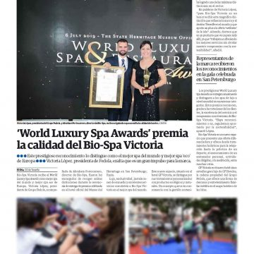 Diferentes medios impresos publican sobre los recientes premios en los World Luxury Spa Awards